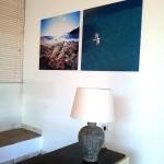 Allestimento con quadri al Chia Laguna
