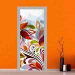 Adesivo per porta con fiori astratti