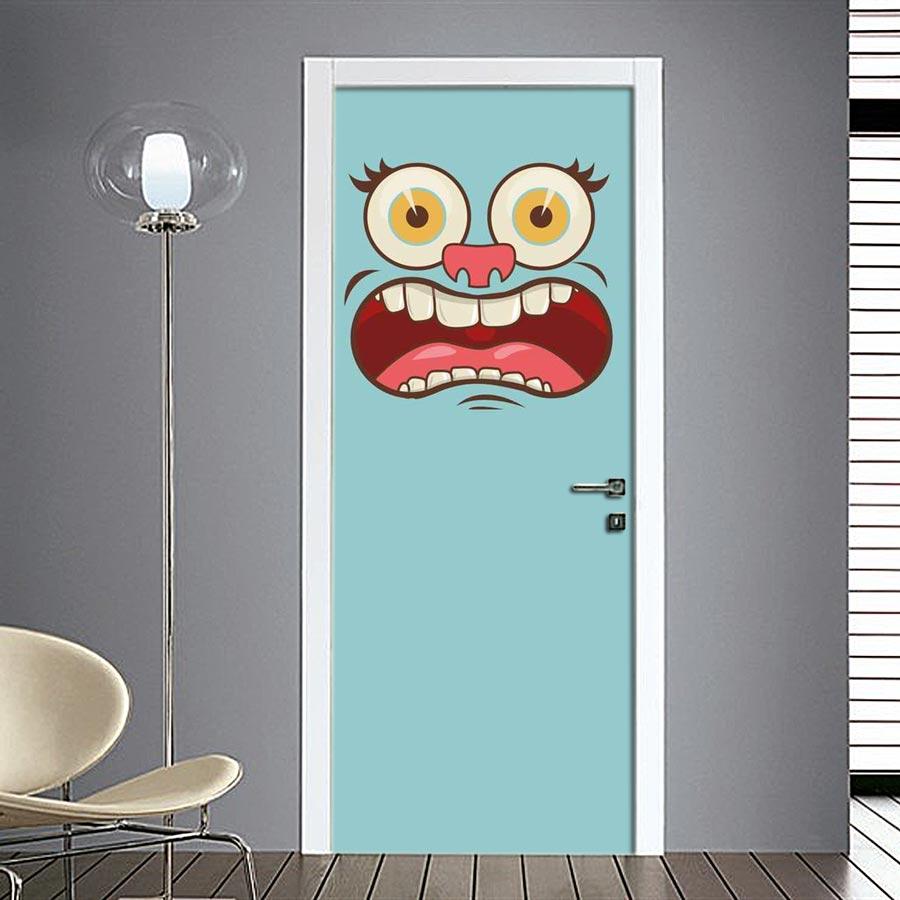 Adesivo per porte con faccia spaventata