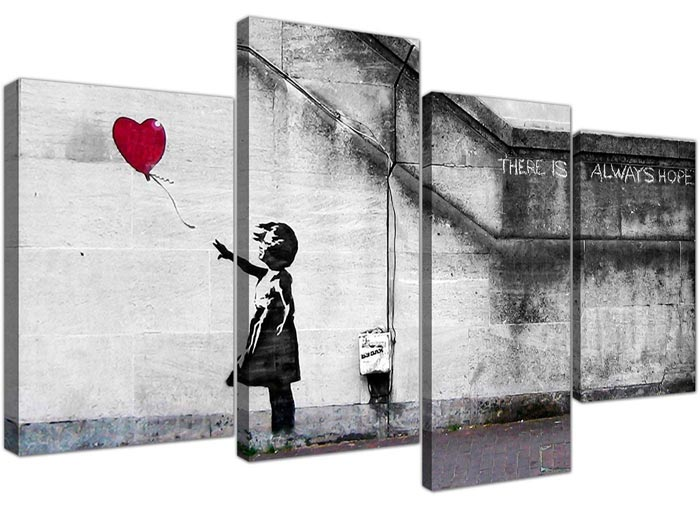 Quadro di Banksy con bambina con palloncino rosso
