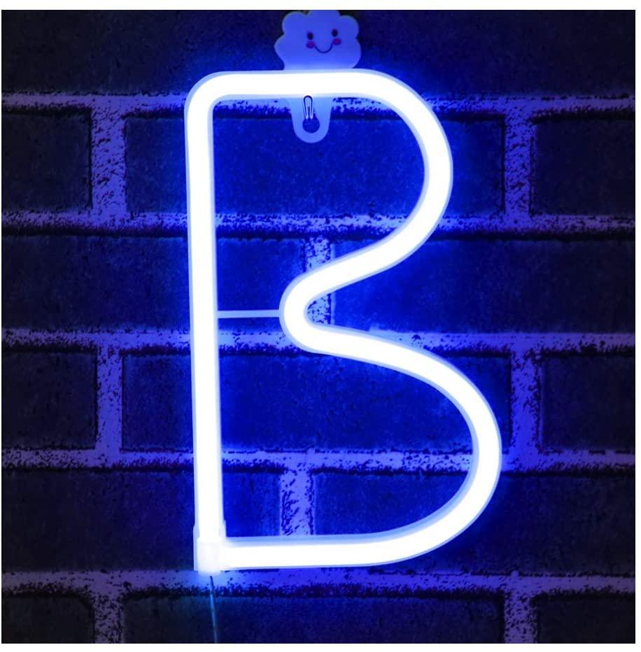 Lettere luminose al neon alimentata a batteria per cameretta bambini